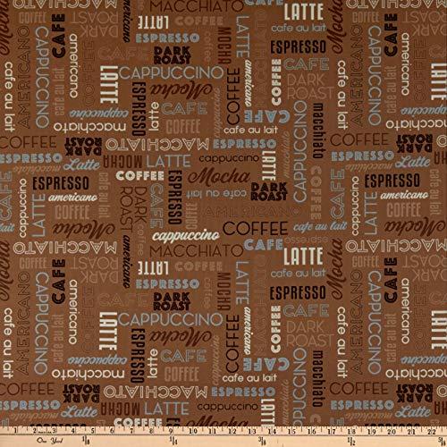 Mocha Studio - Windham Fabrics Whistler Studios Dark Roast Coffee Words Mocha Fabric Fabric by the Yard