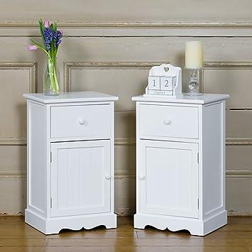 Paar nachttischschränke weiß im Shaker-Stil Schränke Tisch: Amazon ...