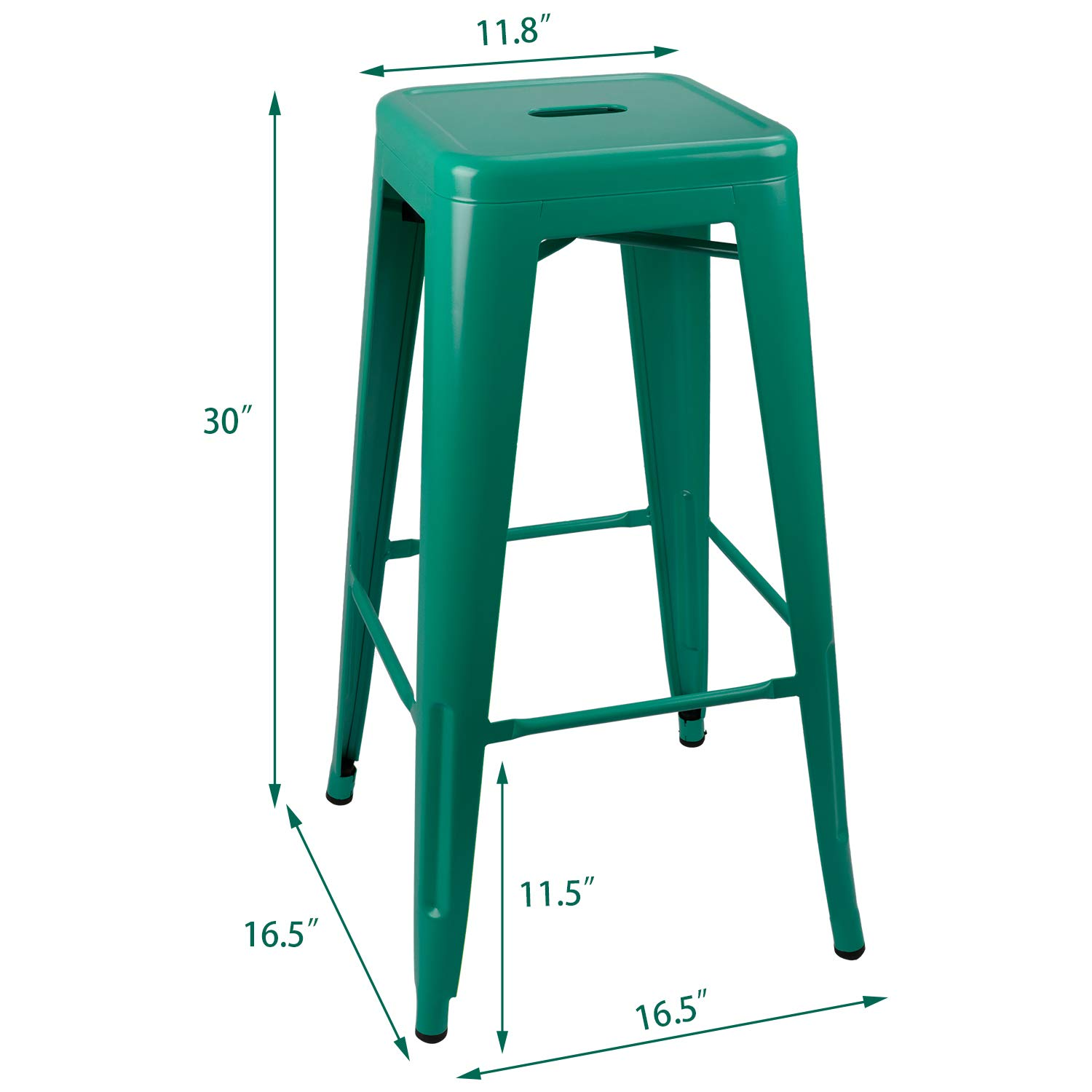 Green JUMMICO Metal Bar Stool Backless 30 Inches Stackable Counter Height Barstools Indoor Outdoor Modern Industrial Bar Stools Set of 4