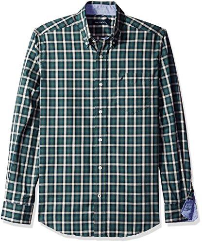 Nautica Men's Classic Fit Wrinkle Resistant Lakeside Plaid Shirt, Lakeside Green, - Shipping Free Lakeside