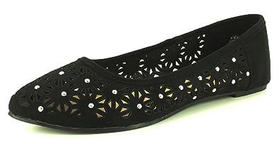 NEU Damen / Damen schwarz Ballerina Schuhe mit Spitz zulaufend - schwarz - UK Größen 3-9 - Schwarz, 39