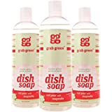 Grab Green Naturally-Derived, Biodegradable Liquid Dish Soap,Red Pear with Magnolia, 16 Ounce Bottle (3-Pack)
