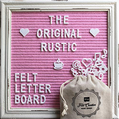 Announcement Letter - Pink Felt Letter Board Rustic White Wood Farmhouse Vintage Frame and Stand by Felt Creative Home Goods | 10