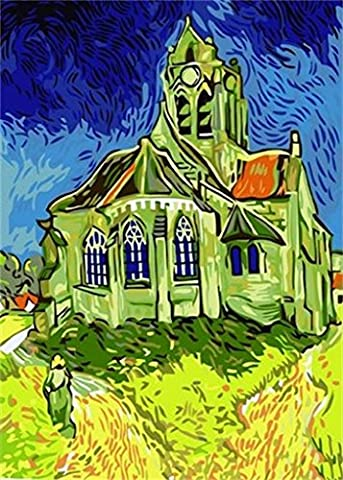 Diy oil painting, paint by number kit - The Church At Auvers by Vincent Van Gogh 16*20 inch. (Acrylic Paint Van Gogh)