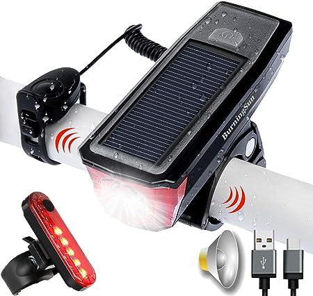 side facing burningsun solar-powered bike lights and horn