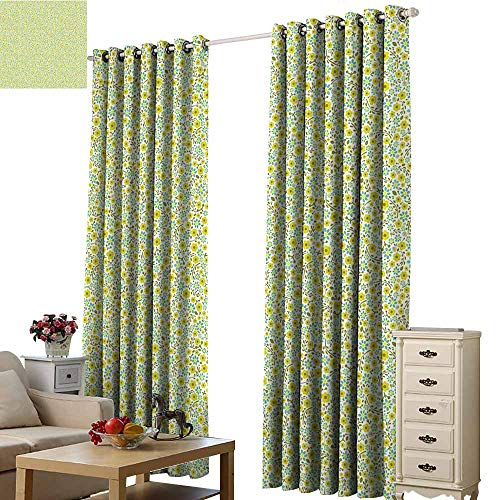 Beihai1Sun Blackout Window Drapes Luxury Green Doodle Style Cute Kids Girls Pattern with Daisy Flower Blooms Olive Green Light Green Turquoise Living Room Wedding Bedroom W96 x H72