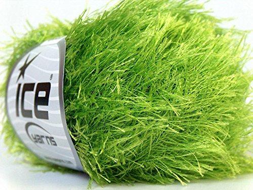 Lime Green Eyelash Yarn 50 Gram Ice 22786 (Eyelash Green Yarn Lime)