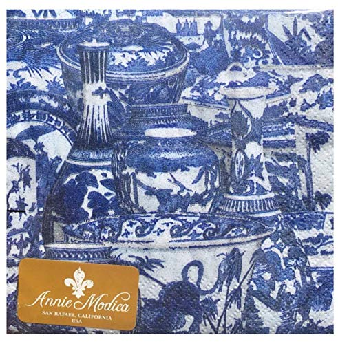 Annie Modica Blue China Cocktail Beverage Paper Napkins, 36 ct