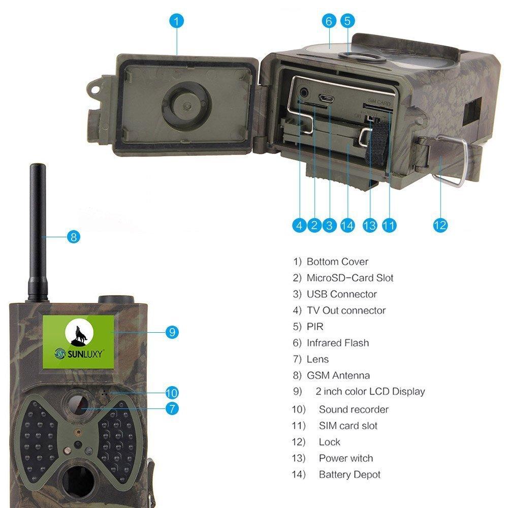 SUNLUXY® HC-300M Cámara de Caza 12MP HD con GSM/MMS/GPRS/SMS Pantalla TFT de 2 pulgadas Seguimiento infrarrojos Digital + Tarjeta SD de 4GB: Amazon.es: ...
