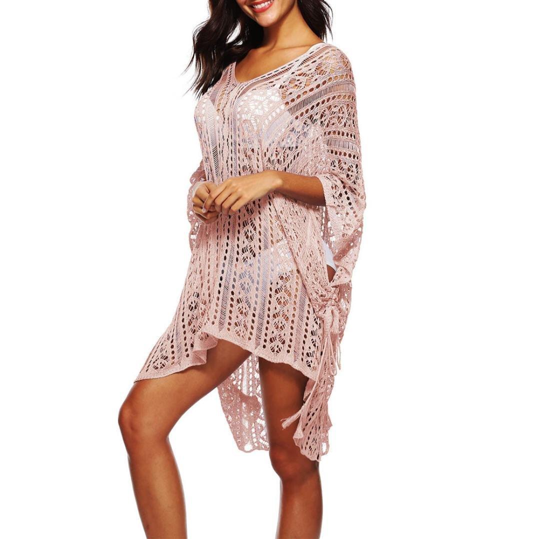 YJYDADA Smock,Women Bathing Cover up Bikini Swimsuit Swimwear Crochet Smock Beach Cover up (Pink)
