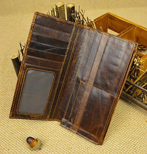 Echtes Leder lange Brieftasche mit Reißverschluss Tasche Vintage Bifold Scheckheft Geldbörse (Embossed Dragon) N78ZB