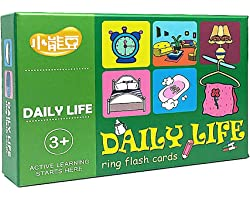 Eksesor English and Chinese Early Education Flash Cards with a Ring for Kindergarten Preschool Kids Over 3 (Daily Life)