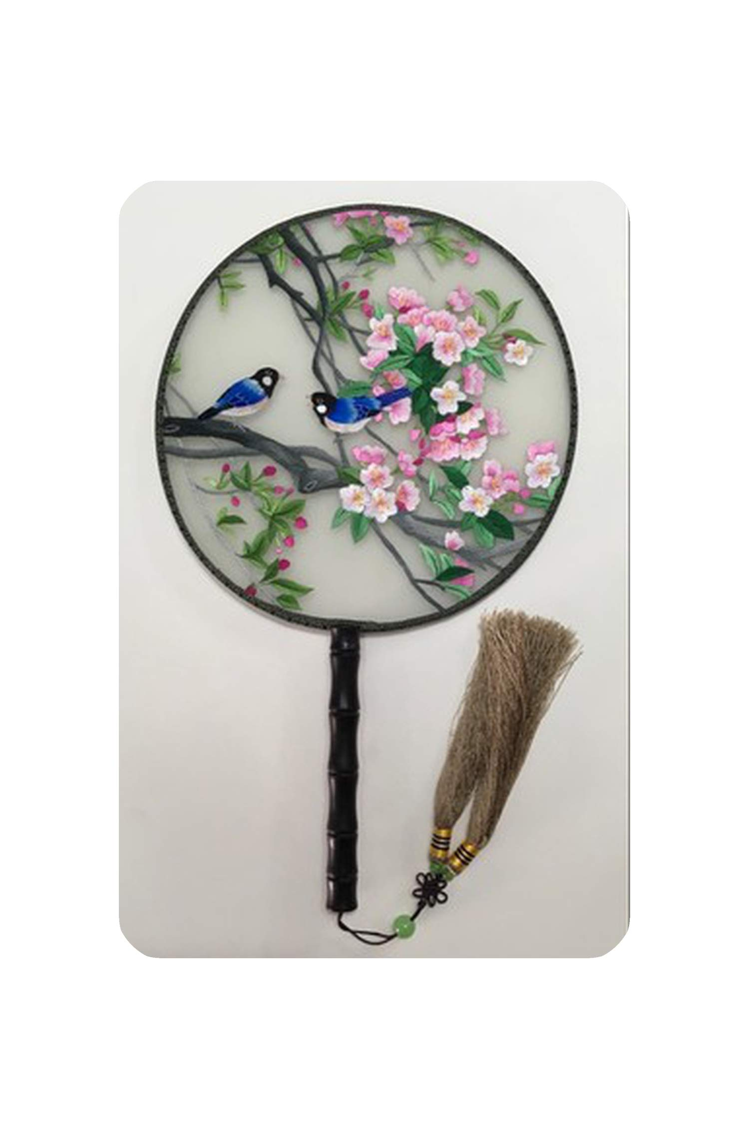Handmade 100% Mulberry Silk Finished Suzhou Embroidery Round Fan Double Sided Embroidery Animals Birds and Flowers Fan 7,NO.7 by koweis