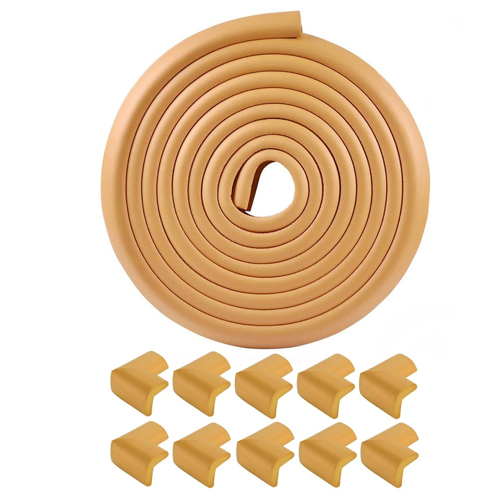 BTMB Corner & Edge Baby Proofing Guards [16.4ft Edging + 10 Corners] Furniture Corner Protectors Foam Bumper(Wood Color)