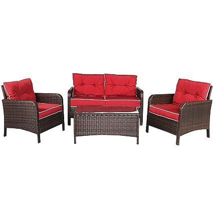 Amazon.com: Cypress Shop - Juego de muebles de mimbre para ...