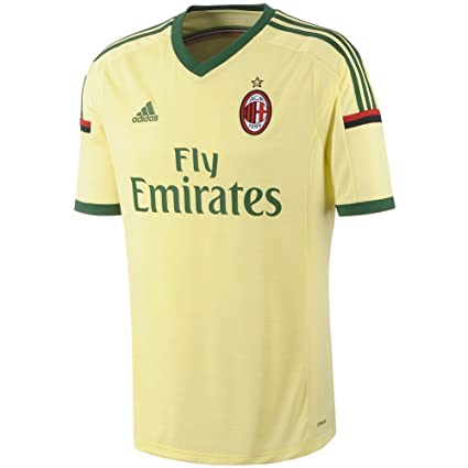 new style 26919 fb26f Adidas Mens Climacool Ac Milan 2014/2015 S/S 3Rd Jersey Yellow/Green Xl