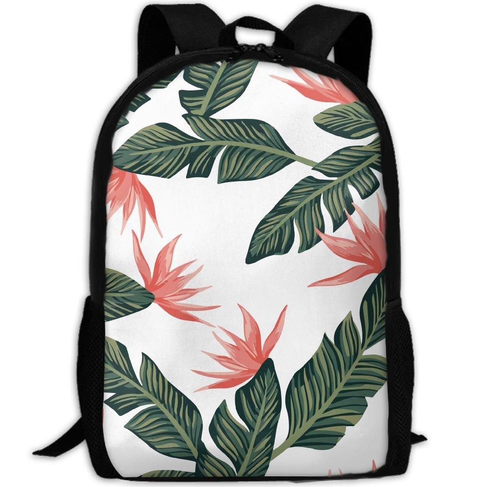 OIlXKV Flower Leaves Print Custom Casual School Bag Backpack Multipurpose Travel Daypack For Adult