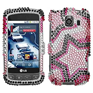 Silver Pink Black Purple Star Full Diamond Bling Snap on Design Case Hard Case Skin Cover Faceplate for Lg Optimus S Ls670 + Screen Protector Film