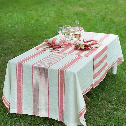 Christmas Tablescape Decor - Red Stripe Linen Tuscany Tablecloth by LinenMe