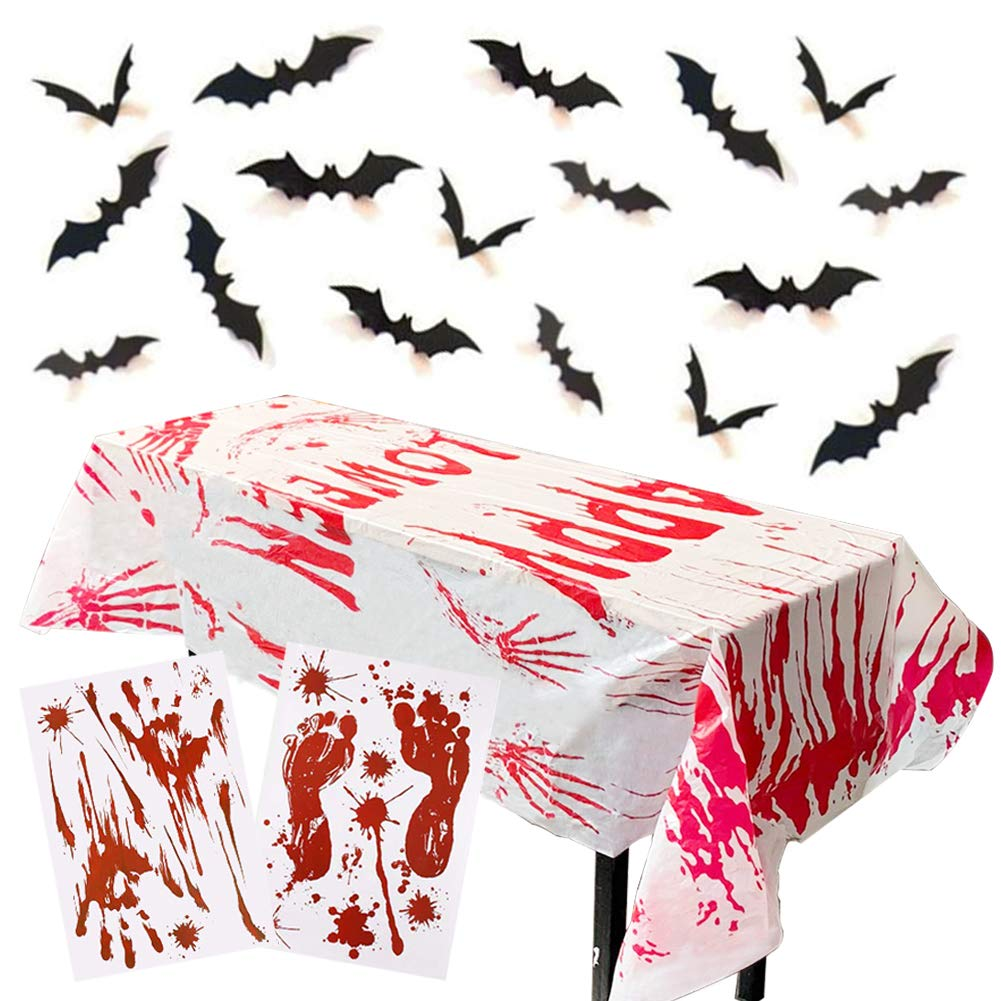3 otters Halloween Party Decoration Set, 41PCS Bloody Halloween Window Clings Wall, Including Bloody Tablecover, Bloody Clings, 3D Decorative Scary Bats, Halloween Eve Home Decoration