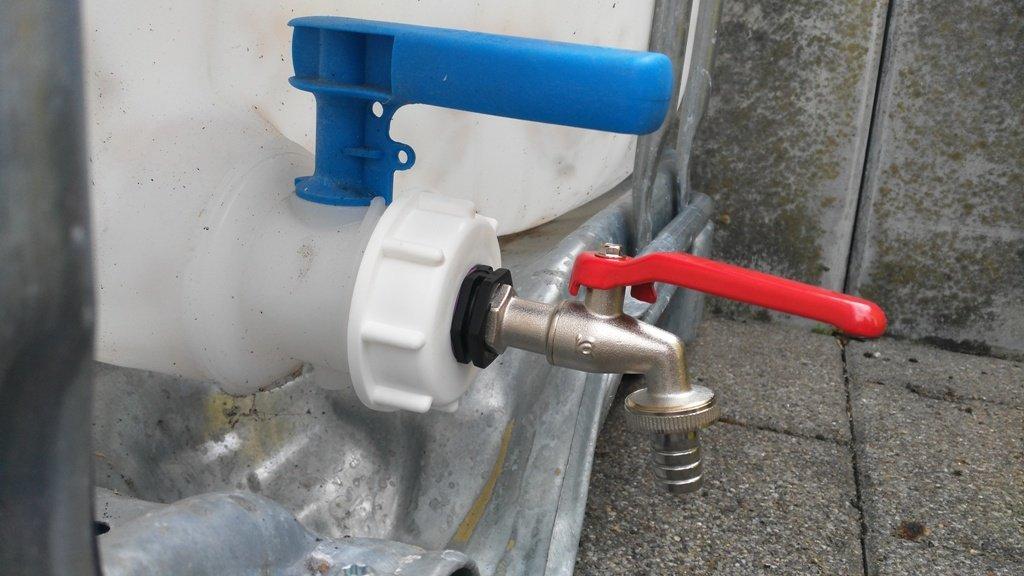 ams19 6 W3412mk12 grifo 1/2 pulgadas, IBC de contenedor de accesorios de agua de lluvia tanque de doble adaptador de bidón: Amazon.es: Jardín