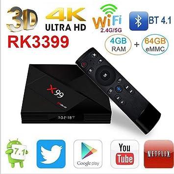 LOISK Android TV Box Smart TV Box X99 [4GB + 64GB] / RK3399 con Daul -Core Cortex-