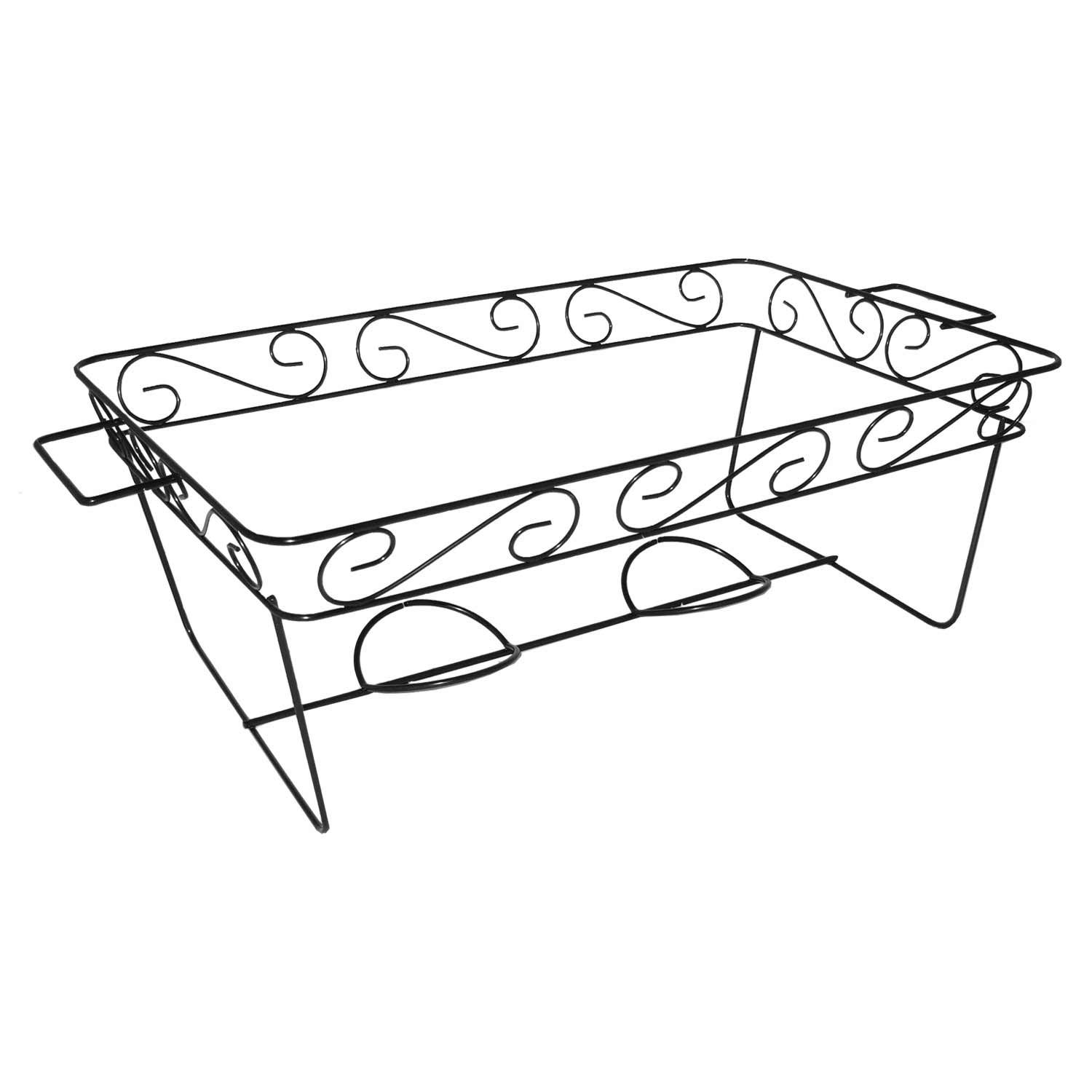 Party Essentials Elegance Full Size Chafing Rack, 7-3/8'' Height x 12-7/8'' Width x 11-7/8'' Length, Black (Case of 12)
