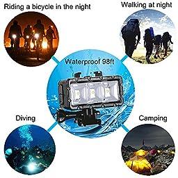 Suptig 30M High Power Dimmable Waterproof LED Video Light Fill Night Light Diving Underwater Light for Gopro Hero5/5S/4/4S/3+/3/2 SJCAM Sj4000/Sj5000/Sj6000/Sj7000 Xiaoyi