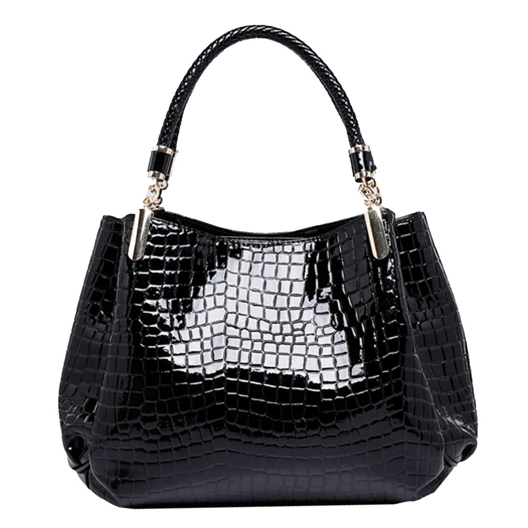 Monique Women Alligator Pattern Handbag Evening Party Clutch Bag Beach Travel Tote Shoulder Bag Black