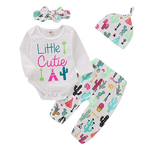 60baba08a667 NZRVAWS 4pcs Newborn Baby Clothes for Girls Cactus Print Romper Long Sleeve  Tops White Pants Set