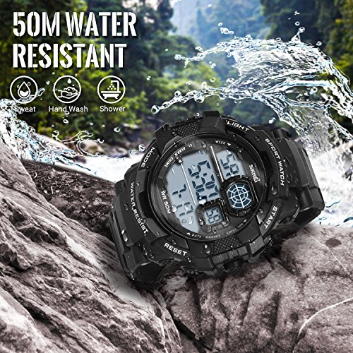 HIwatch Boys' Digital Sport Watches LED Military Watches and 50M Waterproof Casual Luminous Stopwatch Alarm Simple Army Watch, Electronic Large Face Watches for Men Youth Students Gift, Black by Hi Watch (Image #3)