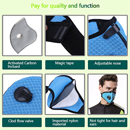 Dustproof Masks - Activated Carbon Dust Mask with Extra Filter Cotton Sheet and Valves for Exhaust Gas, Pollen Allergy, PM2.5, Running, Cycling, Outdoor Activities (4 Set Black and Blue, Dust Masks) by Novemkada (Image #3)