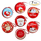 Christmas Earphone Bag, Coxeer 7Pcs Christmas Earphone Case Round Coin Purse Money Storage Pouch with Wrist Strap,Random 7 Pattern