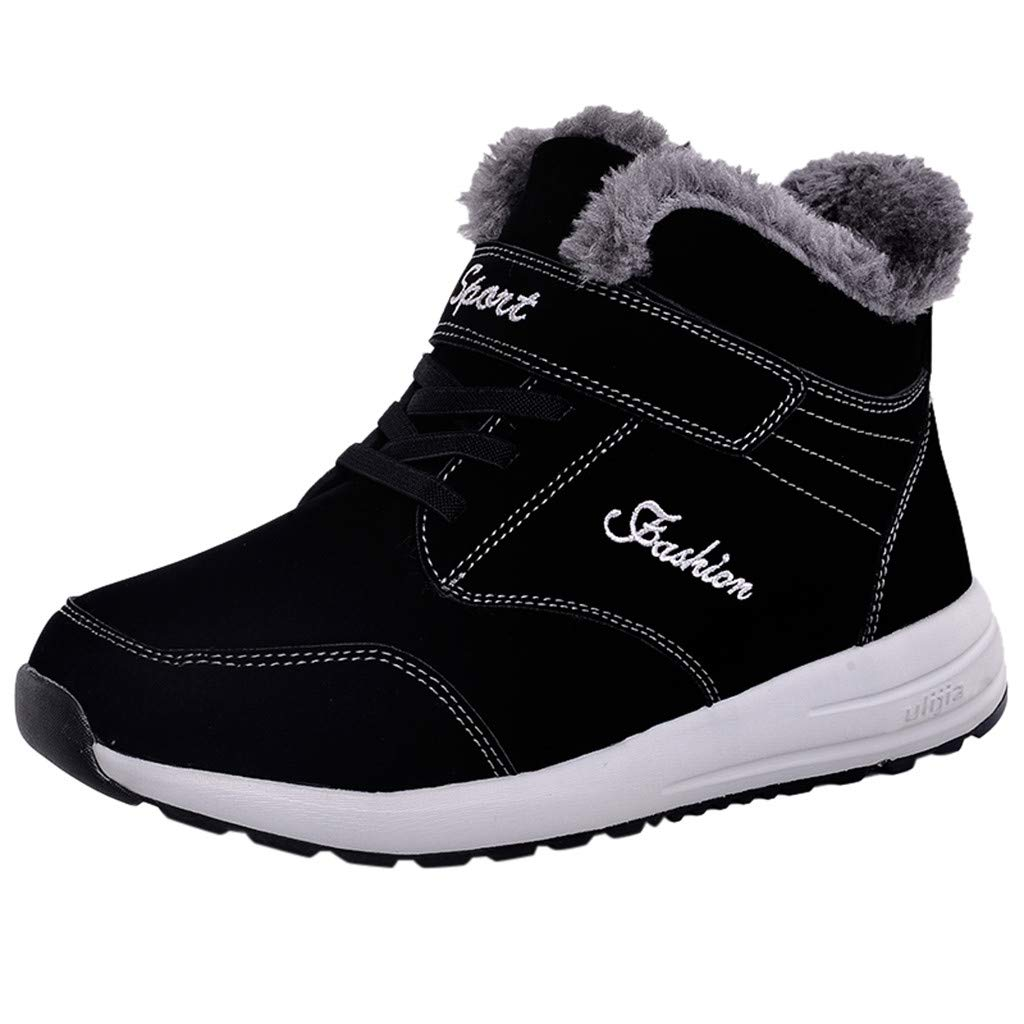 Shusuen Mens Winter Snow Boots Fur Lined Warm Ankle Booties Waterproof Slip-on Sneakers Lightweight High Top Outdoor Shoes