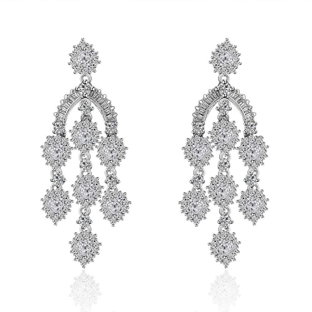 DENGDAI Gland Boucles d'oreilles Dames,Simples Fashion Boucles d'Oreilles avec Diamants et Zircon Longues Boucles d'Oreilles frangées, carillons éoliens, résistant à l'allergie Boucles d'Oreilles