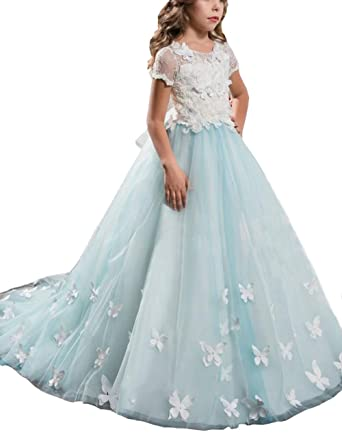 Amazon.com: Mulanbridal Lace Flower Girl Dress Butterfly Kids First ...