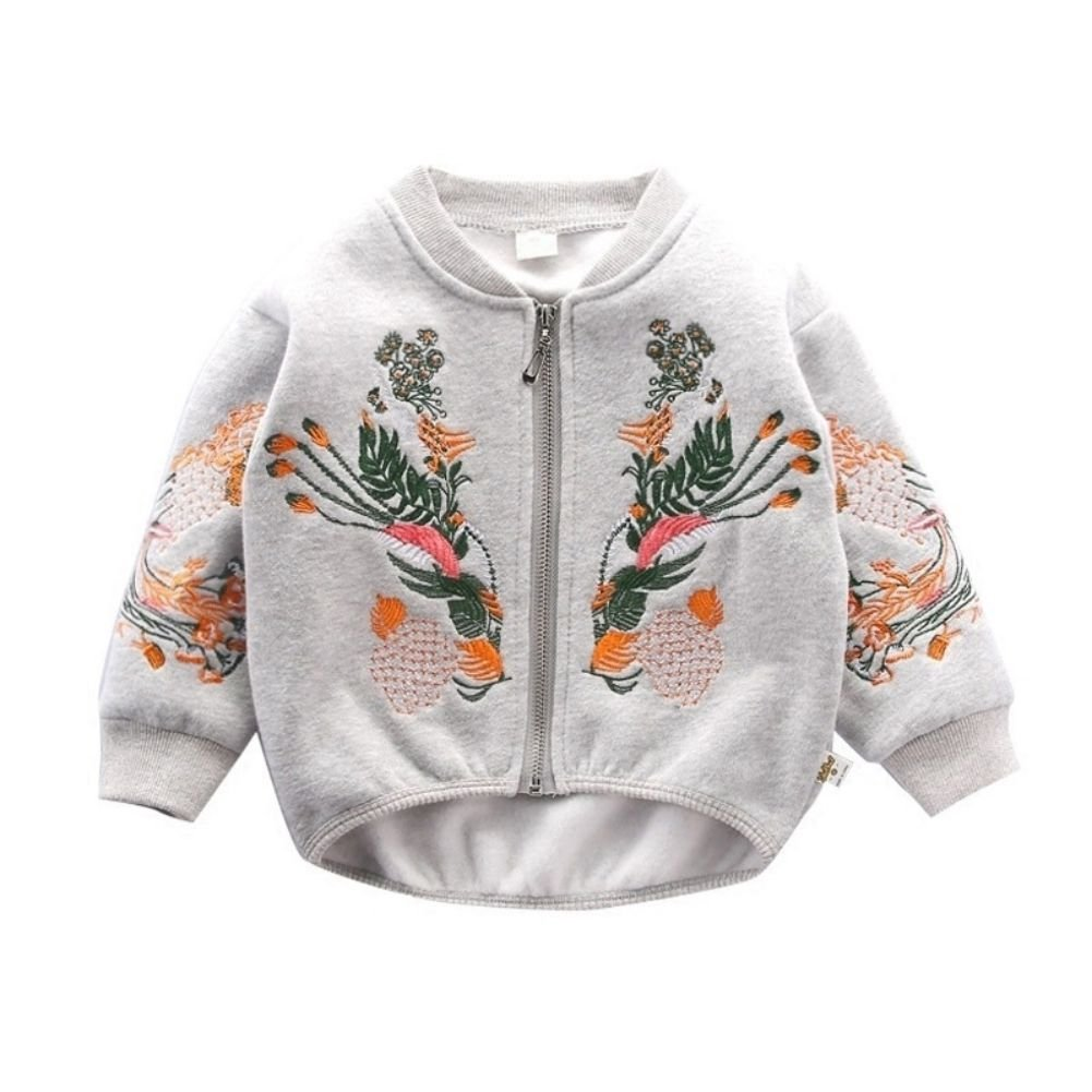 Tracfy Toddler Girls Bomber Jacket Zip-up Sweatshirt Casual Coat With Flower Embroidery