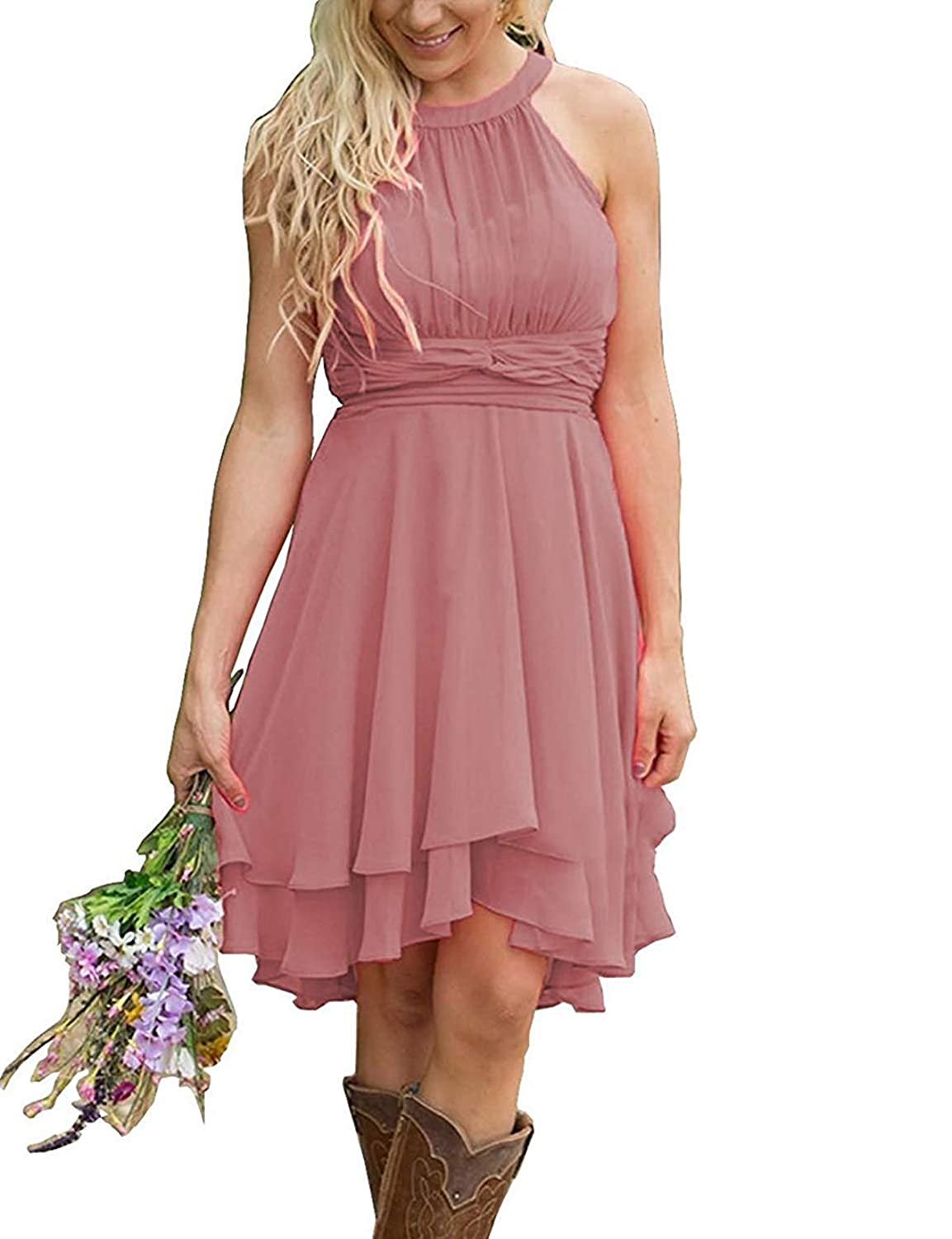 Dark pink FJMM HiLo Prom Dress 2 Layers Pleated Bridesmaid Gown for Beach Wedding