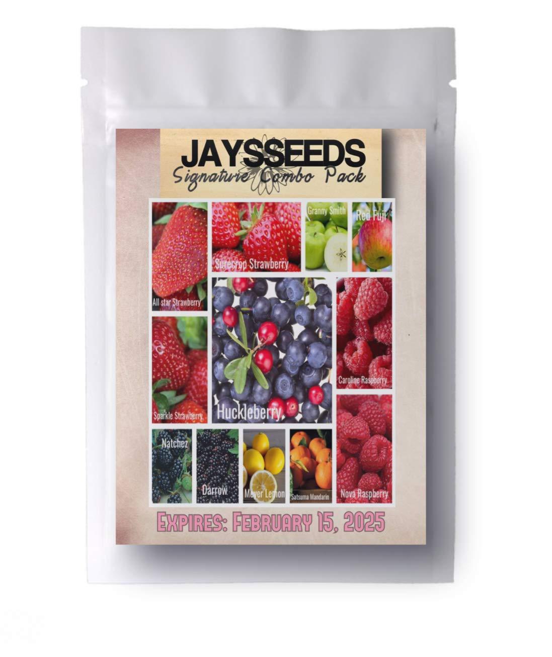 Orchard Bestsellers - Combo Pack Raspberry, BlackBerry, Blueberry, Strawberry, Apple 1,030 Seeds - Lemon, Huckleberry - 12 Varieties - 5 Plant Markers