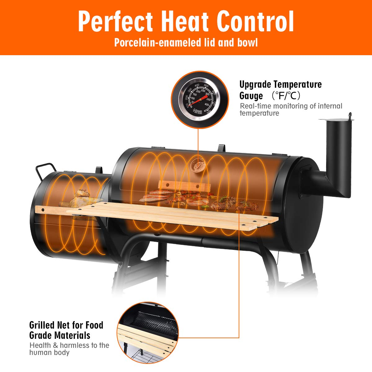 Giantex BBQ Grill Charcoal Barbecue Grill Outdoor Pit Patio Backyard Home Meat Cooker Smoker with Offset Smoker by Giantex (Image #6)