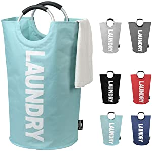 DOKEHOM 82L Large Laundry Basket (6 Colors), Collapsible Fabric Laundry Hamper, Foldable Clothes Bag, Folding Washing Bin (Light Blue, L)