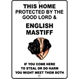 Fastasticdeals English Mastiff Dog Home Protected by Good Lord and Novelty Metal Sign