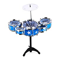 Kids Jazz Rock Drums Set Percussion Musical Instrument Toy Kit with Cymbal Stool Christmas Child Toy Gift (Blue)