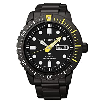 Seiko Prospex Automatic Black Dial Black Ion Plated Mens Watch Srp633