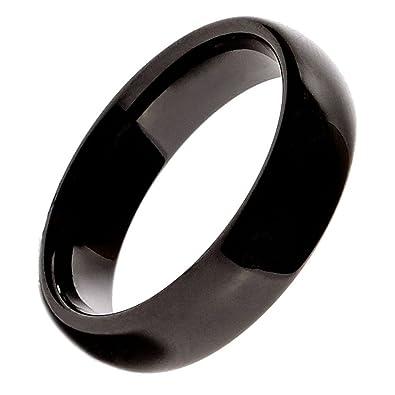 6mm Beautiful Black Ceramic Wedding Ring Classic High Polished Band