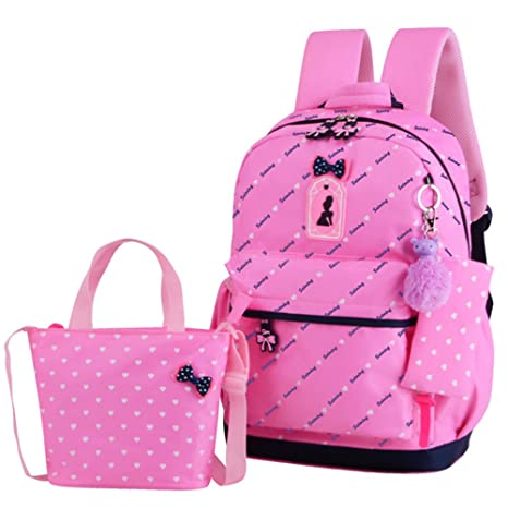 263ca921de50 JiaYou Girl Boy Cute Lunch Bag Purse/Pencil Bag School Backpack 3 Sets(20L,  Styled Pink)