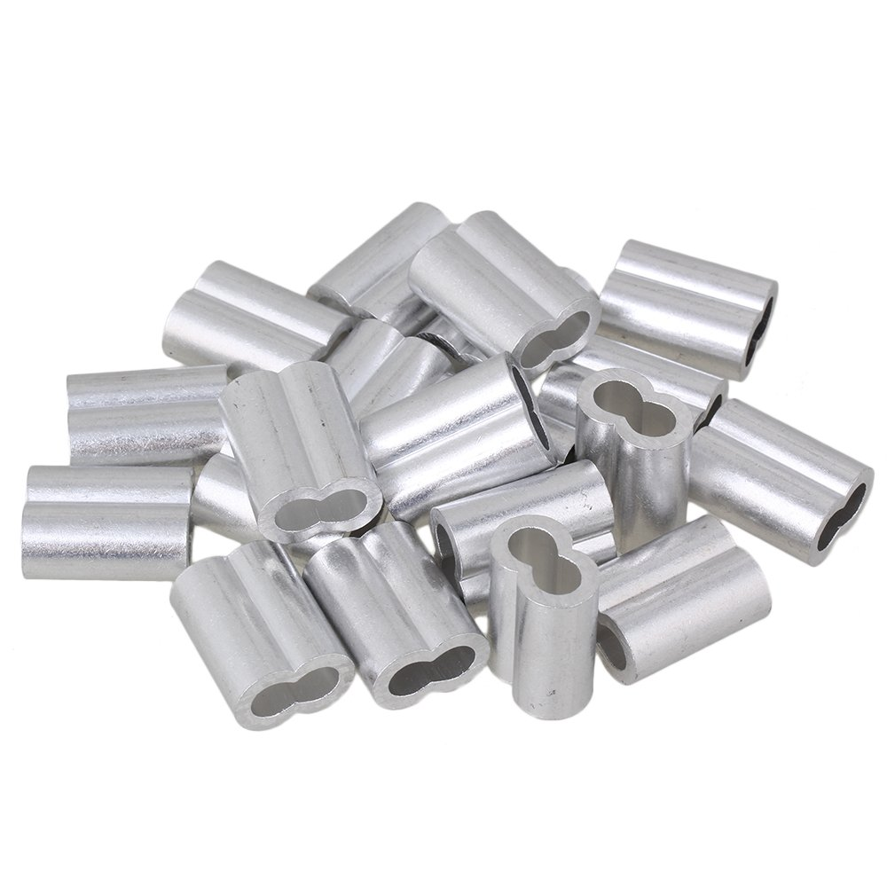 BQLZR 6mm Silver M6 Double Ferrules Aluminum Crimping Loop Sleeve Clips for Wire Ropes Pack of 20 BQLZRN20486