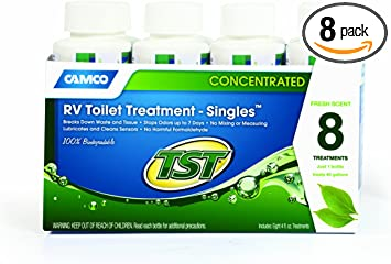 Amazon Com Camco Tst Fresh Scent Rv Toilet Treatment Formaldehyde Free Breaks Down Waste And Tissue Septic Tank Safe Treats Up To 8 40 Gallon Holding Tanks 8 Pack Of 4 Ounce Singles 40221 Automotive