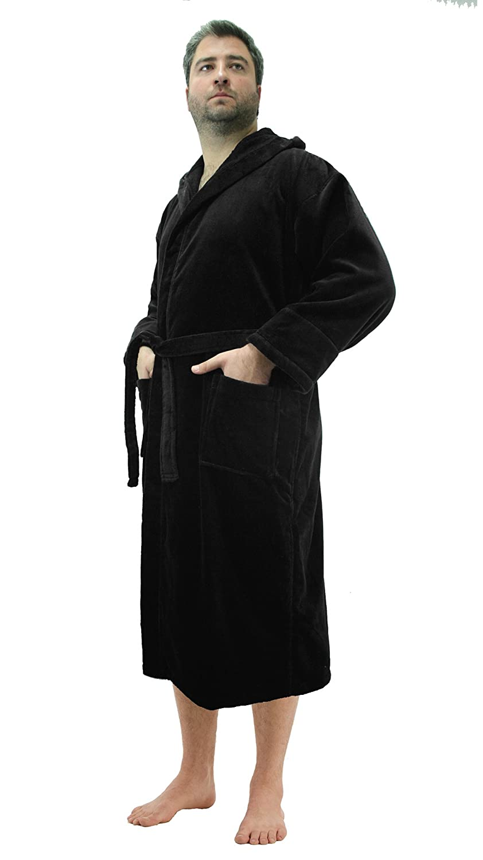 2f1efc7e04 Amazon.com  Robesale Women s Cotton Velour Hooded Bathrobes  Clothing