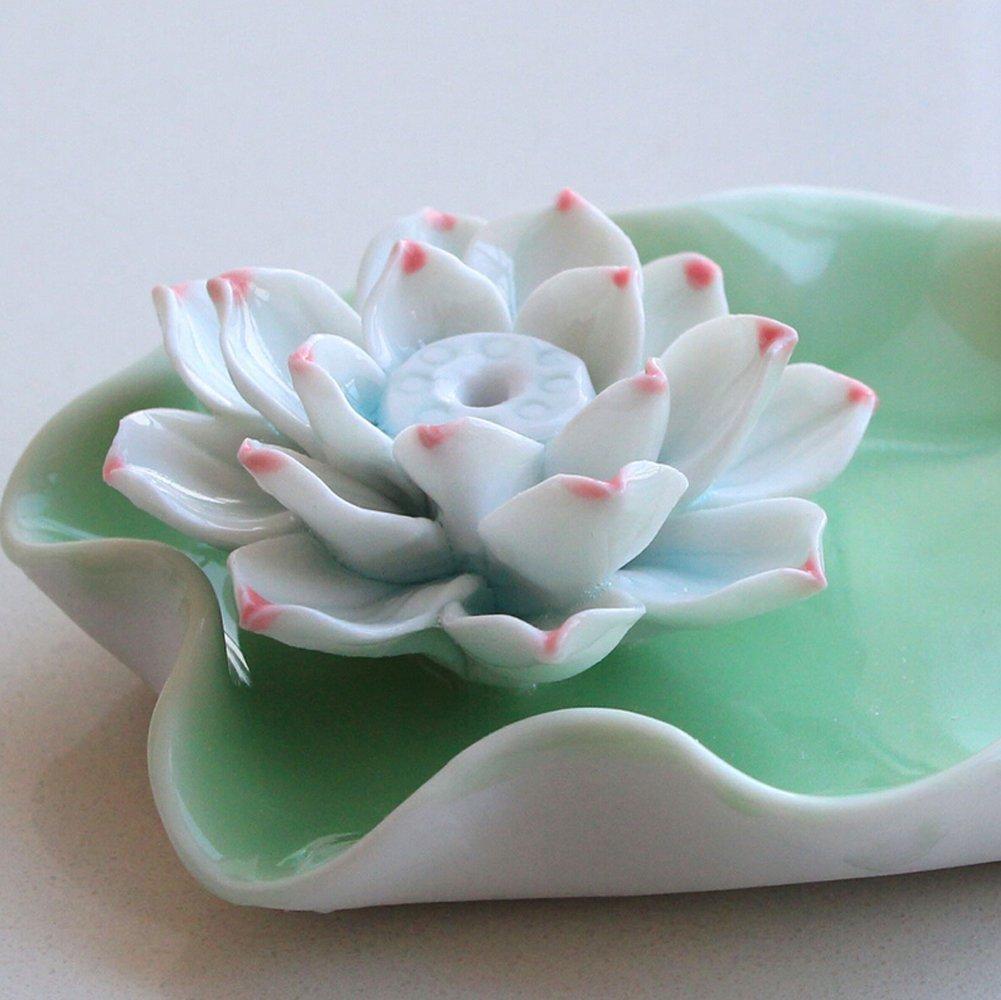 Amazon ewandastore lotus water lily flower ceramic incense amazon ewandastore lotus water lily flower ceramic incense holder burnerashtraypeony home kitchen izmirmasajfo